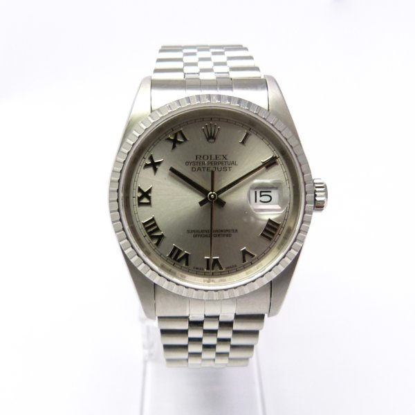 rolex datejust 16220 36 mm stahl silber zifferblatt klassische uhren. Black Bedroom Furniture Sets. Home Design Ideas